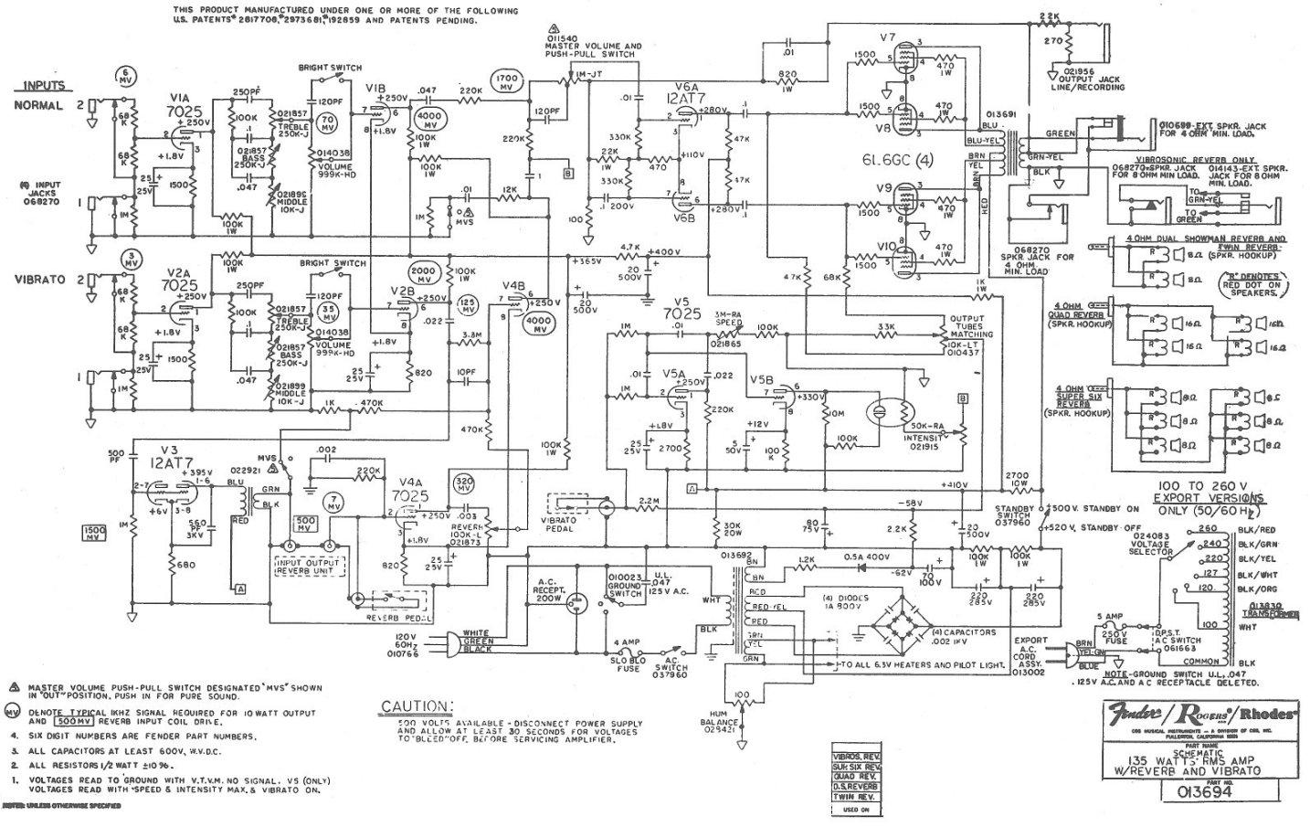 Схема Fender - 135 RMS (reverb + vibrato) GuitarWork.ru.